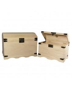 Set de 2 coffres en bois -...