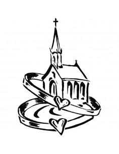 """Tampon en Bois """"Eglise avec..."""