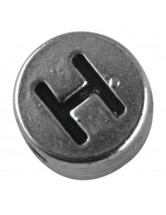 """Perle métallique H """"Argent""""..."""