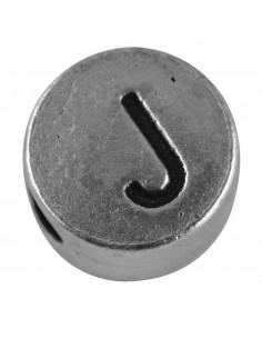 """Perle métallique J """"Argent""""..."""