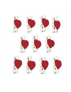 Pinces en bois avec cœur -...