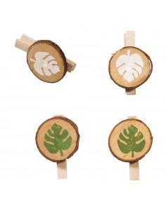 Pinces en bois avec feuille...
