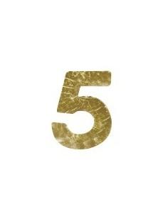 """Chiffres 5 en Cire """"Or"""" - 9 mm"""