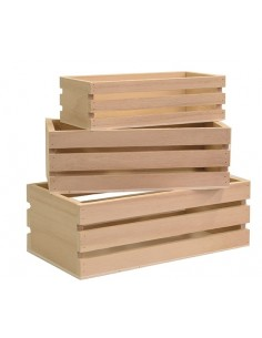 Lots de 3 casiers en bois -...