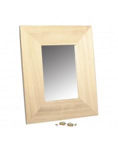 Cadre en bois avec miroir -...