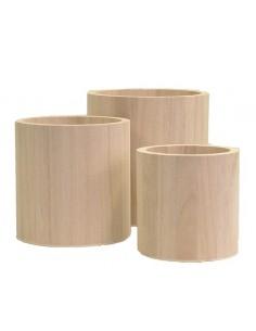 Set de 3 vases en bois - 9...