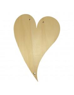 Cœur en bois - 21.5 x 15 cm