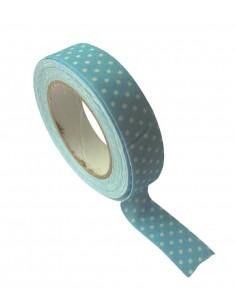 "Tape en tissu ""Bleu à pois""..."