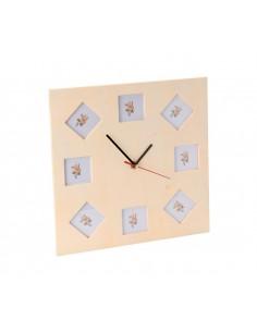Horloge Carrée en Bois avec...